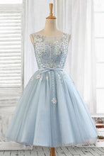 Load image into Gallery viewer, Light Blue Tulle Short Prom Dress Scoop Straps Homecoming Dresses with Lace up H1165
