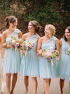 Light Blue V Neck One Shoulder Short Bridesmaid Dresses Chiffon Wedding Party Dress RS963