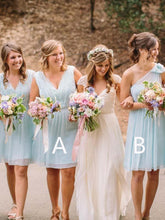 Load image into Gallery viewer, Light Blue V Neck One Shoulder Short Bridesmaid Dresses Chiffon Wedding Party Dress RS963