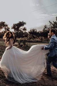 Light Pink See Through Long Sleeve Boho Wedding Dresses Lace Applique Bridal Dress RS378