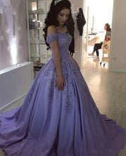Load image into Gallery viewer, Lilac Ball Gown V Neck Off the Shoulder Lace Appliques Satin Beaded Prom Dresses RS465