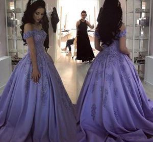 Lilac Ball Gown V Neck Off the Shoulder Lace Appliques Satin Beaded Prom Dresses RS465