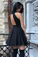 Load image into Gallery viewer, Little Black Halter Open Back Homecoming Dresses Under 100 Cute Short Prom Dresses H1056