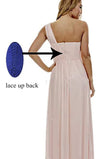 Long Light Pink Mismatched A-Line One Shoulder Sleeveless Elegant Bridesmaid Dresses RS523