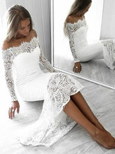 Load image into Gallery viewer, Long Sleeve Lace Appliques Sheath White Prom Dresses Off the Shoulder Wedding Dress P1129