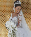 Long Sleeve Lace Wedding Dress Mermaid Beads Lace Appliques Wedding Gowns RS476