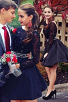 Long Sleeve Navy Blue Bateau Homecoming Dresses Open Back Short Cocktail Dresses H1209