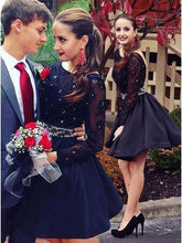 Load image into Gallery viewer, Long Sleeve Navy Blue Bateau Homecoming Dresses Open Back Short Cocktail Dresses H1209