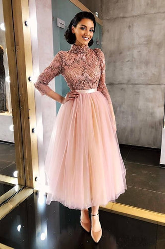 Long Sleeve Pink High Neck Ankle Length Homecoming Dresses Beads Tulle Short Dress H1102