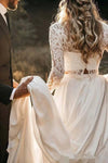 Long Sleeve Two Pieces Lace Round Neck Beach Wedding Dresses Chiffon Boho Bridal Gowns W1100