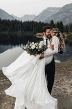 Load image into Gallery viewer, Long Sleeve Two Pieces Lace Round Neck Beach Wedding Dresses Chiffon Boho Bridal Gowns W1100