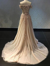 Load image into Gallery viewer, Luxurious A Line Off The Shoulder Evening Dress Long Prom Dress with Appliques RS565