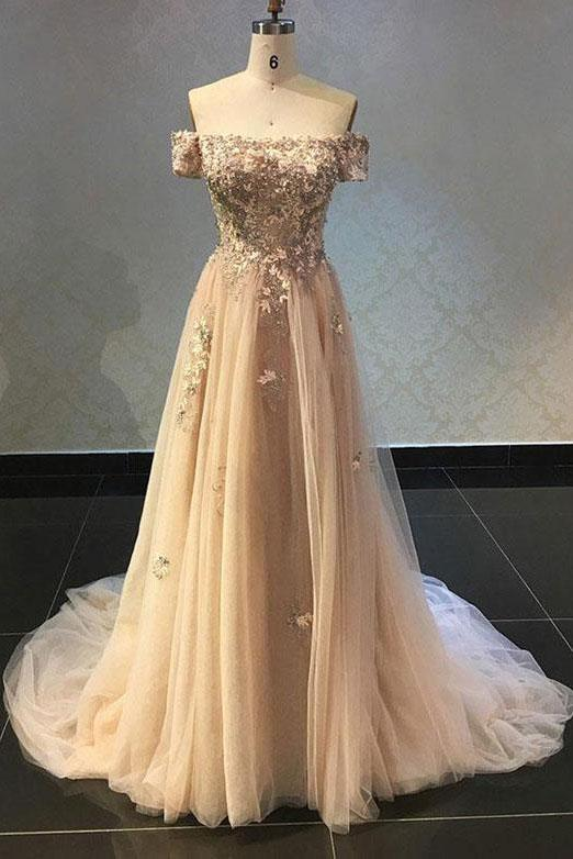 Luxurious A Line Off The Shoulder Evening Dress Long Prom Dress with Appliques RS565