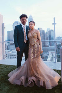 Mermaid Brown Sweetheart Beads Crystals Tulle Backless Prom Dresses Formal Dresses RS373