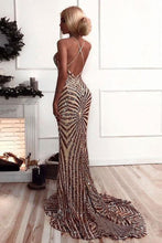 Load image into Gallery viewer, Mermaid Criss Cross Deep V Neck Gold Prom Dresses Sequins Long Prom Dresses RS534