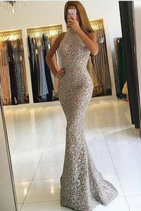 Mermaid High Neck Detachable Lace Sequins Prom Dresses Long Formal Dresses RS371