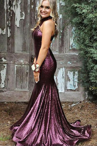 Mermaid High Neck Purple Sequin Evening Dresses Cheap Sleeveless Prom Dresses RS514