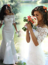 Load image into Gallery viewer, Mermaid Lace Appliques Half Sleeve Ivory Off the Shoulder Wedding Gowns with Lace up W1018