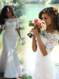 Mermaid Lace Appliques Half Sleeve Ivory Off the Shoulder Wedding Gowns with Lace up W1018