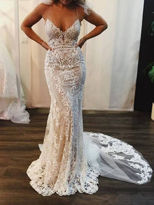 Mermaid Lace Appliques Spaghetti Straps V Neck Ivory Wedding Dresses Bridal Dresses RS923
