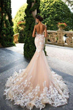 Load image into Gallery viewer, Mermaid Light Pink Backless Lace Appliques Wedding Dresses Short Sleeve Bridal Dress RS510