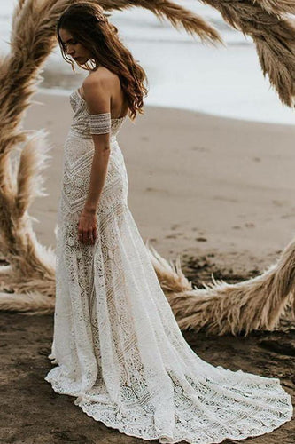 Unique Mermaid Off the Shoulder Straps Ivory Lace Beach Wedding Dress Bridal Dresses RS829