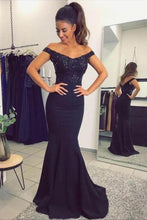 Load image into Gallery viewer, Mermaid Off the Shoulder Navy Blue Sweetheart Prom Dresses with Sequins RS577