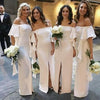 Mermaid Off the Shoulder Satin Floor Length Ivory Bridesmaid Dresses Slit Party Dresses BD1010