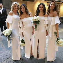 Load image into Gallery viewer, Mermaid Off the Shoulder Satin Floor Length Ivory Bridesmaid Dresses Slit Party Dresses BD1010