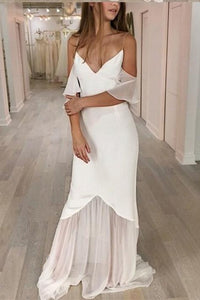 Mermaid Spaghetti Straps Cold Shoulder Wedding Dresses Prom Dresses RS416