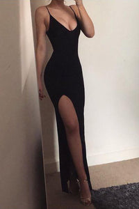 Mermaid Spaghetti Straps V Neck Side Slit Black Prom Dresses Long Simple Formal Dress P1010