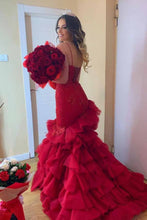 Load image into Gallery viewer, Sexy Mermaid Sweetheart Burgundy Strapless Lace Appliques Lace up Tulle Prom Dresses P1026