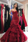 Sexy Mermaid Sweetheart Burgundy Strapless Lace Appliques Lace up Tulle Prom Dresses P1026
