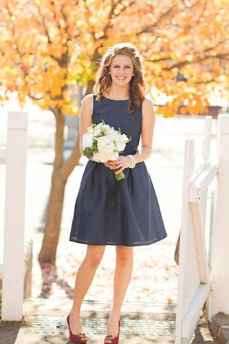 Mini A line Dark Navy Jewel Sleeveless Above Knee Satin Short Bridesmaid Dresses RS959