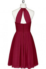 Load image into Gallery viewer, Mini Cute Halter Burgundy Chiffon Knee Length Bridesmaid Dress Short Prom Dresses RS961