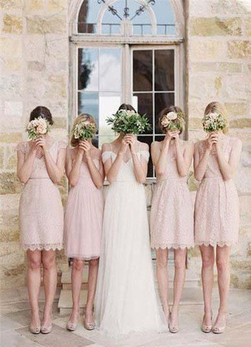 Mismatched Junior Short Lace Knee Length Blush Pink Bridesmaid Dresses Prom Dresses RS964