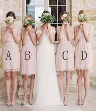 Load image into Gallery viewer, Mismatched Junior Short Lace Knee Length Blush Pink Bridesmaid Dresses Prom Dresses RS964