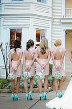 Load image into Gallery viewer, Sheath Crew Short Cap Sleeves High Neck Pink Lace Open Back Prom Bridesmaid Dresses RS714