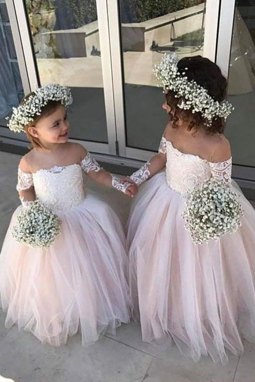 Cute Off the Shoulder Long Sleeve Pink Lace Appliques Tulle Flower Girl Dresses RS289