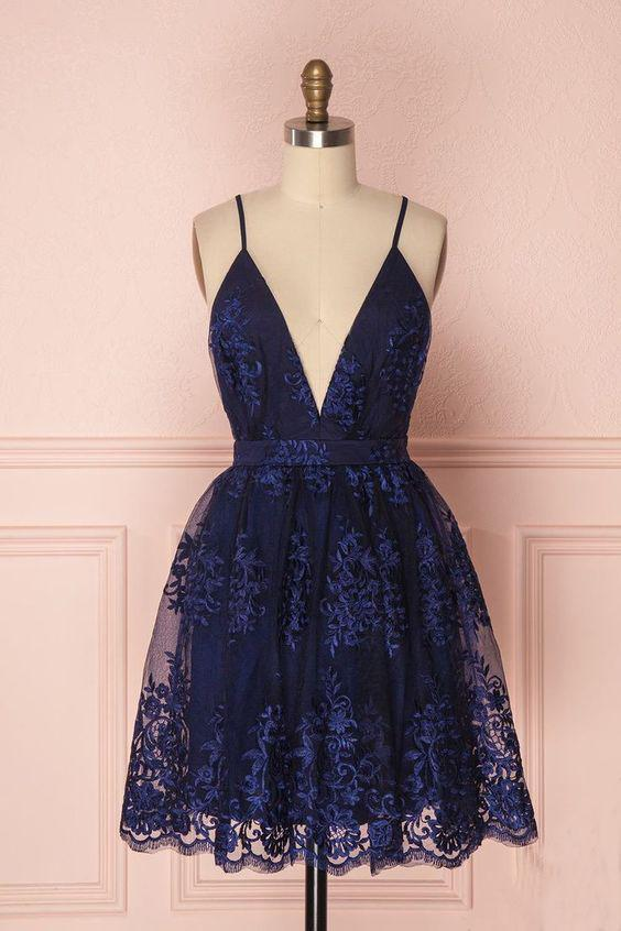 Navy Blue Deep V Neck Lace Spaghetti Straps Homecoming Dresses Short Prom Dresses H1116