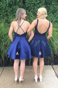 Navy Blue V Neck Homecoming Dresses Cute Short Bridesmaid Dresses with Pockets H1073