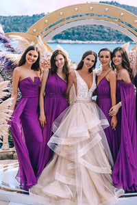 New Styles Purple Chiffon Bridesmaid Dresses Long Ruffles Bridesmaid Gowns BD1015