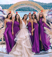 Load image into Gallery viewer, New Styles Purple Chiffon Bridesmaid Dresses Long Ruffles Bridesmaid Gowns BD1015