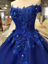 Load image into Gallery viewer, Off Shoulder Royal Blue Evening Dresses with 3D Floral Lace Ball Gown Quinceanera Dresses RS491