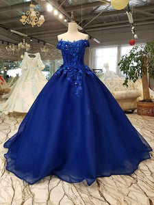 Off Shoulder Royal Blue Evening Dresses with 3D Floral Lace Ball Gown Quinceanera Dresses RS491