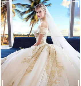 Off the Shoulder Ball Gown Sweetheart Wedding Dress Long Appliques Bridal Dress RS619