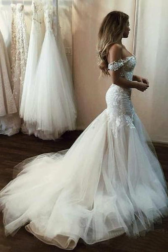 Off the Shoulder Mermaid Tulle Wedding Dresses Lace Appliques Bridal Gown RS448