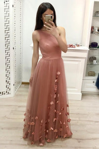 One Shoulder A Line Tulle Blush Pink Floor Length Prom Dresses Cheap Long Evening Dress RS902