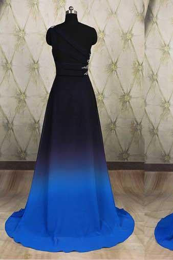 One Shoulder Ombre Black and Blue Ruffles Prom Dresses Simple Cheap Party Dresses RS692