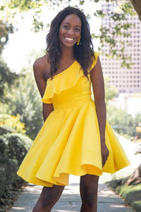 One Shoulder Yellow Satin Ruffled Above Knee Short Prom Dresses Formal Dresses H1207